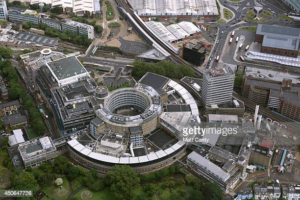 The BBC Television Centre on Wood Lane in Shepherd's Bush is seen from the air on June 14 2014 in London England