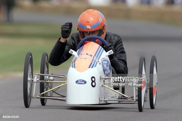 The BBC Top Gear presenter Tiff Needel races down the hill in the Soapbox Challenge at the Goodwood Festival of Speed The three day Festival at...