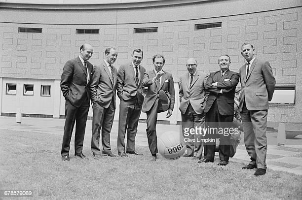 Wally Barnes Frank Bough Kenneth Wolstenholme David Coleman Alan Weeks and referees Arthur Ellis and Ken Aston UK 31st May 1966