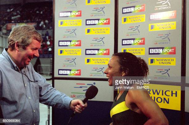 The BBC's Brendan Foster interviews 800m runner Kelly Holmes