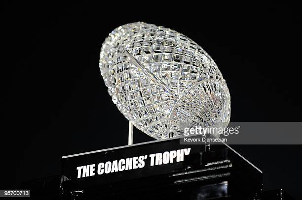 The BCS National Championship trophy which was won by the Alabama Crimson Tide after winning the Citi BCS National Championship game over the Texas...
