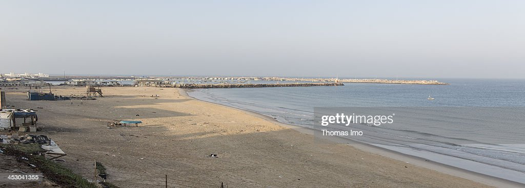 The beach and harbor in Gaza City, The Palestinian Territories pictured on November 06, 2013.