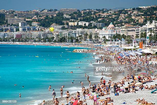 The beach and seafront of the Baie des Anges in Nice