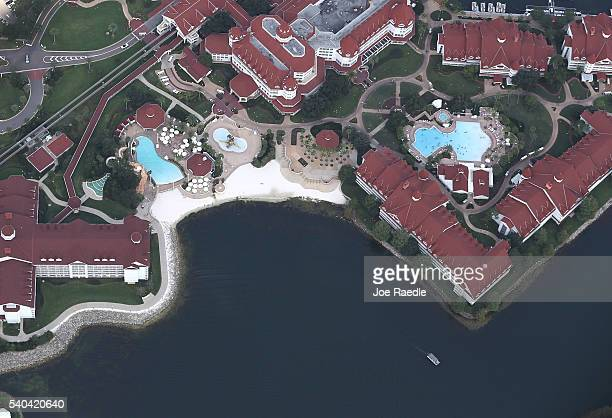 The beach area of the Walt Disney World's Grand Floridian resort hotel is seen where a 2yearold boy was taken by an alligator as he waded in the...