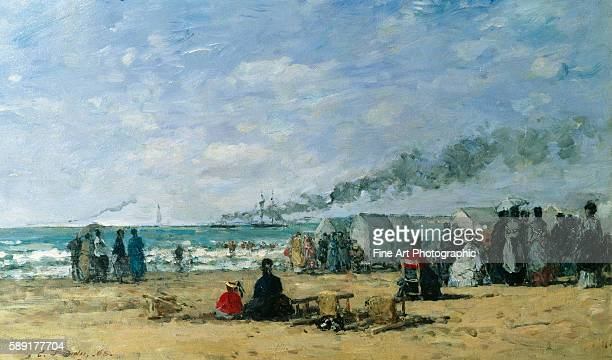 The Beach at Bathing Time by Eugene Louis Boudin
