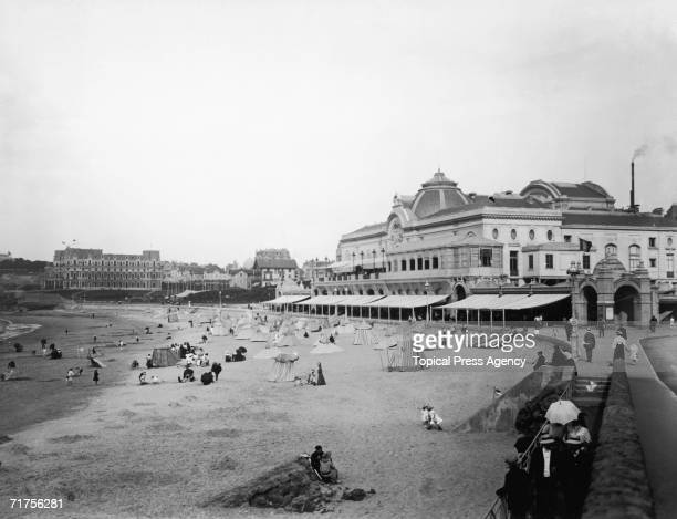 The beach at Biarritz showing the Hotel du Palais and the casino February 1908