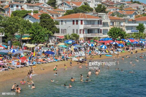 The beach at K›nal›ada seen from the deck of a ferry boat from Istanbul that is about to stop over at the island to offload day trippers from the...