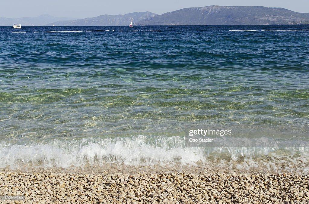 The beach at Valun, Croatian island of Cres : Stock Photo