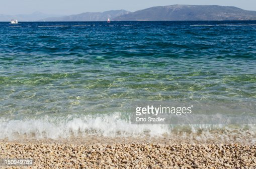 The beach at Valun, Croatian island of Cres : Stock Photo