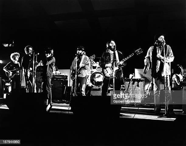 The Beach boys perform live on stage in Amsterdam Netherlands circa 1972 LR Blondie Chaplin Al Jardine Carl Wilson and Mike Love