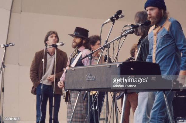 The Beach Boys perform on stage at Crystal Palace London 3rd June 1972 LR Dennis Wilson Al Jardine Blondie Chaplin Carl Wilson Mike Love
