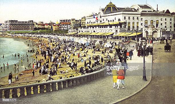 the beach in front of the casino in Biarritz in the Basque region in the PyreneesAtlantiques France in 1920