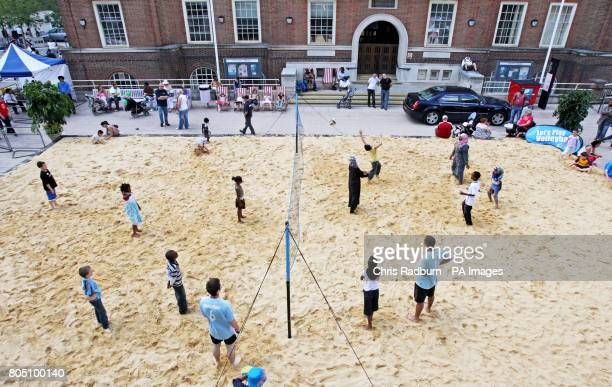 The beach in the Town Square of Barking Essex inspired by the Olympics and celebrating the birthday of the Games in 2012 Children took part in beach...