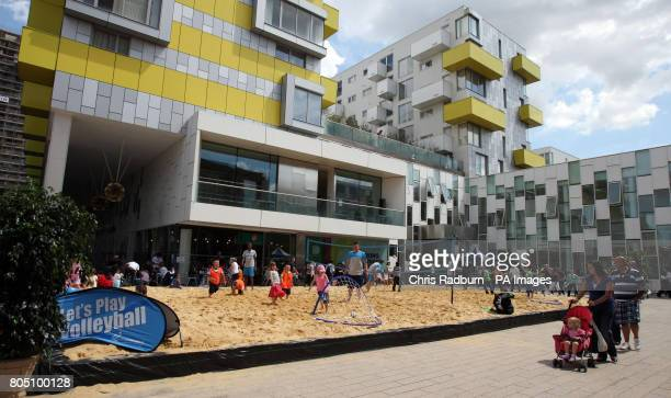 The beach in the town square of Barking inspired by the Olympics and celebrating the birthday of the Games in 2012 Children took part in beach...