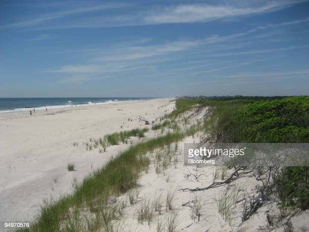 The beach is shown from the dunes near the Sunken Forest on Fire Island New York US on July 12 2009 The entry to the forest from the beach is up an...