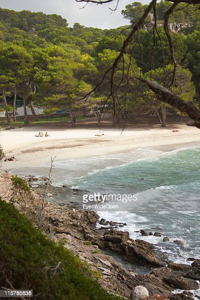 The beach of Cala Macarella on October 09 2010 in Menorca Spain Menorca is the second largest of the Balearic Islands in the Mediterranean Sea and...