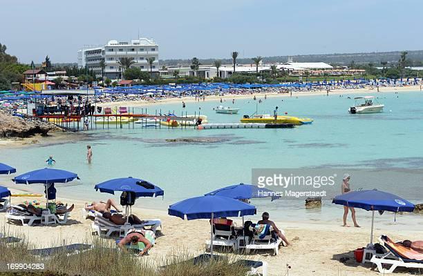 The beach of Makronisos near Ayia Napa on May 22 2013 in Ayia Napya Cyprus