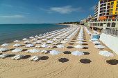 The beach of Nessebar on the Bulgarian Black Sea coast