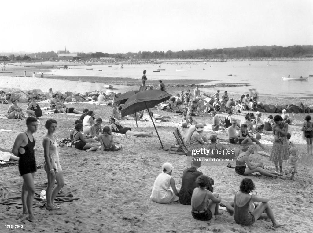 The beach scene at the Shorewood Beach Club in Stamford Connecticut Stamford Connecticut c 1930