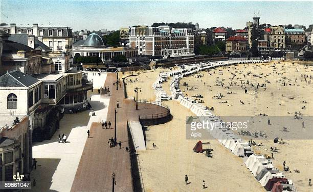 the beach viewed from the casino in Dinard in Brittany France postcard early 20th century