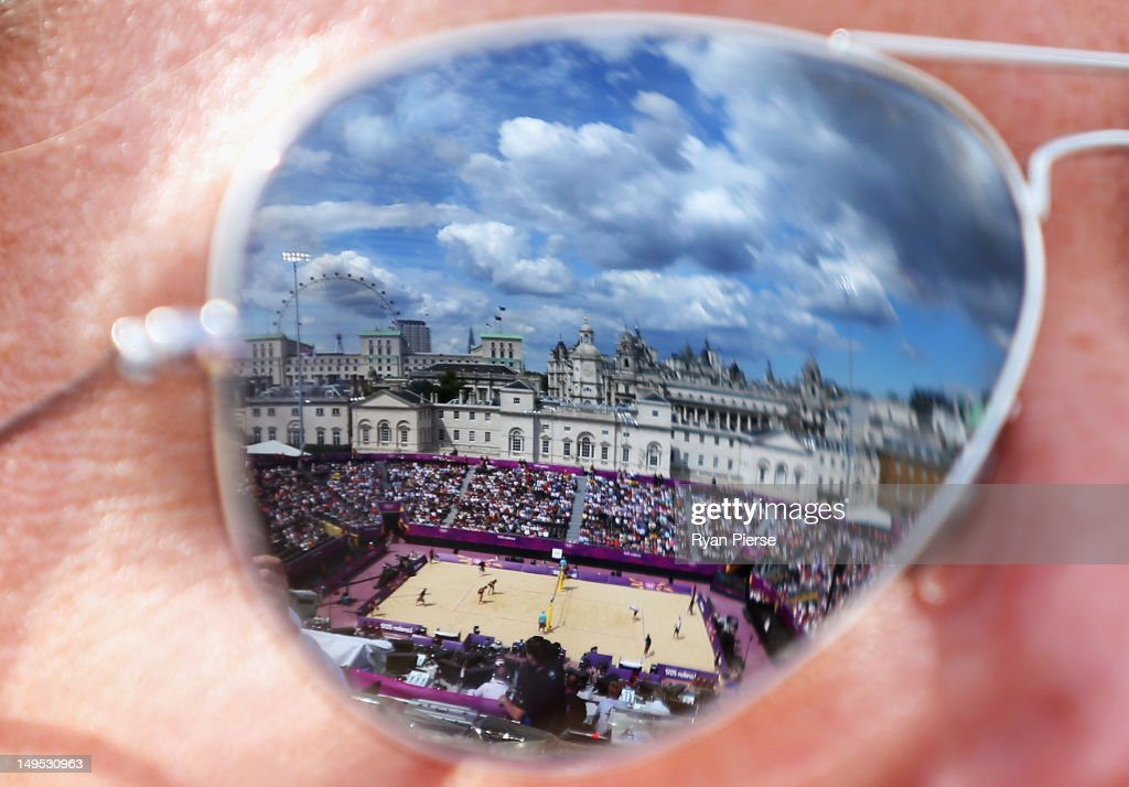 The Beach Volleyball Center Court is reflected in sunglasses during Day 3 of the London 2012 Olympic Games at Horse Guards Parade on July 30, 2012 in London, England.
