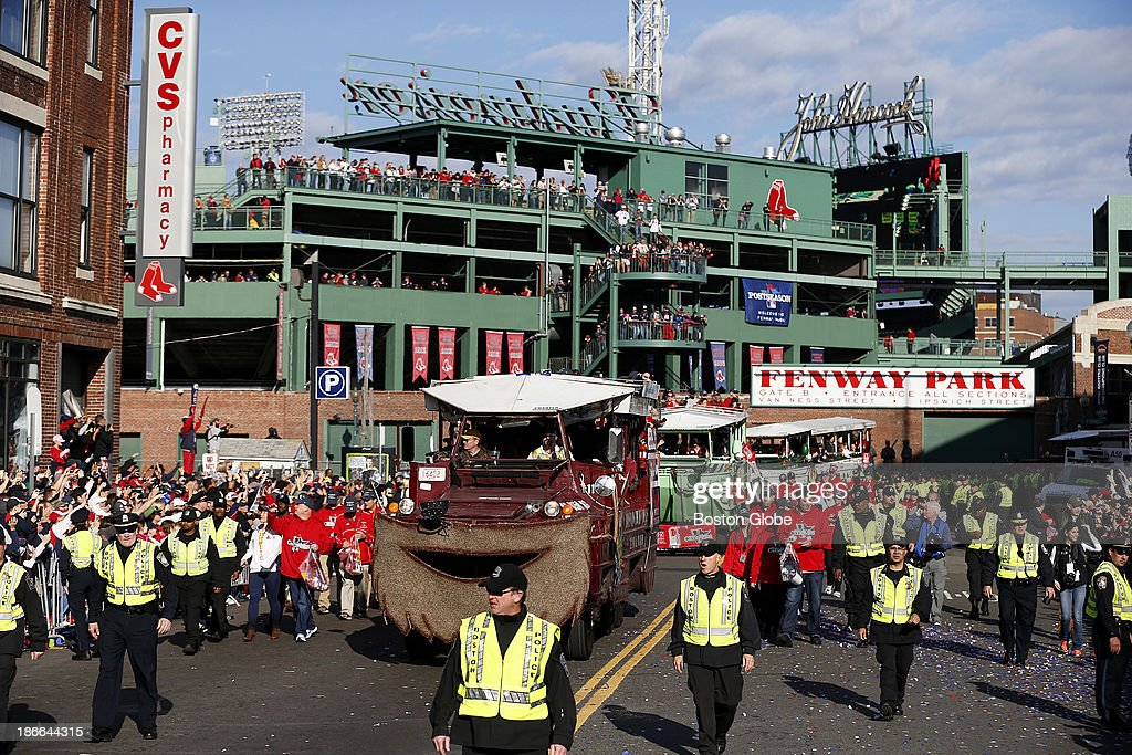 The bearded Rolling Rally left Fenway Park as the Boston Red Sox celebrated their World Series victory with a Rolling Rally duck boat parade on Saturday, Nov. 2, 2013.