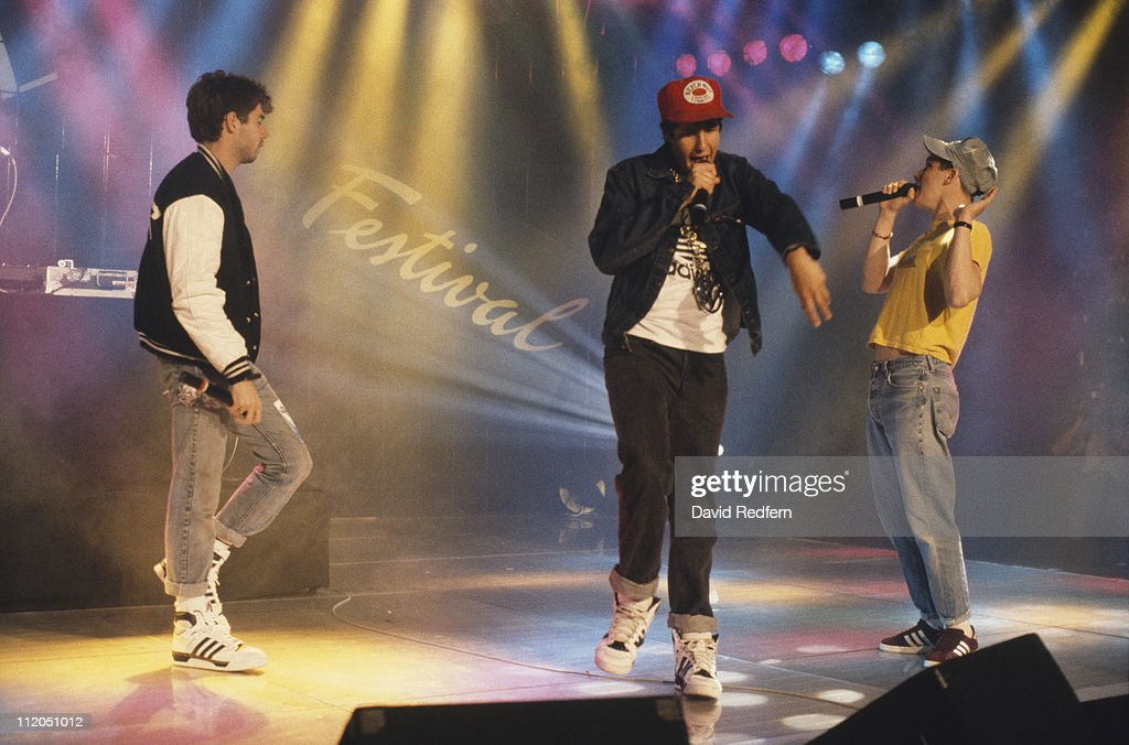 Adam Yauch Michael Diamond and Adam Horovitz performing on stage at the Montreux Rock Festival in Montreux Switzerland in June 1987