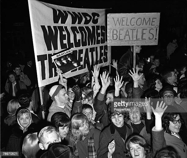 The Beatles 1964 US Tour A crowd of young American music fans wait for British pop group The Beatles at Washington DCs Union Railway Station during...