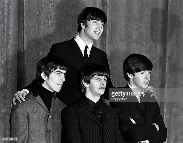The Beatles 1964 US Tour All four members of the British pop group The Beatles pose during the bands tour of America They are John Lennon LR George...