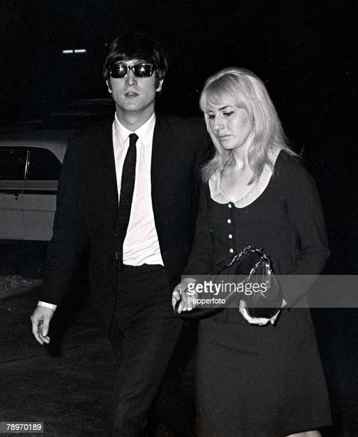 The Beatles 1964 US Tour John Lennon of British pop group The Beatles with his wife Cynthia in Miami during the band's tour of America February 13...