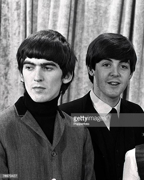 The Beatles 1964 US Tour Members of the British pop group The Beatles George Harrison and Paul McCartney during the band's tour of the USA