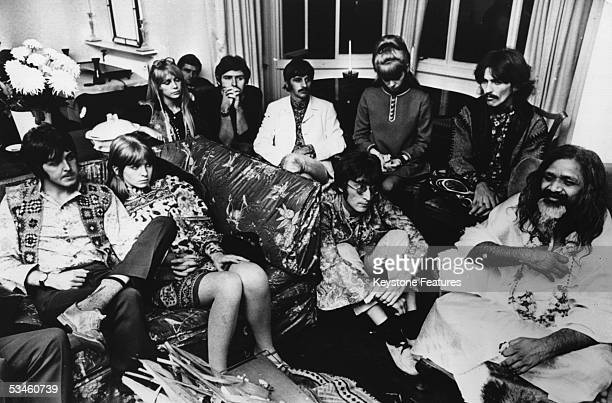 The Beatles and friends give an audience to the Maharishi Mahesh Yogi 4th September 1967 From left to right Paul McCartney Jane Asher Patti Harrison...
