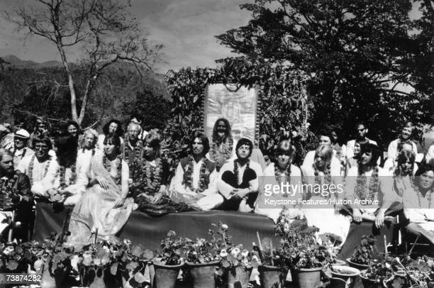 The Beatles and their wives at the Rishikesh in India with the Maharishi Mahesh Yogi March 1968 The group includes Ringo Starr Maureen Starkey Jane...
