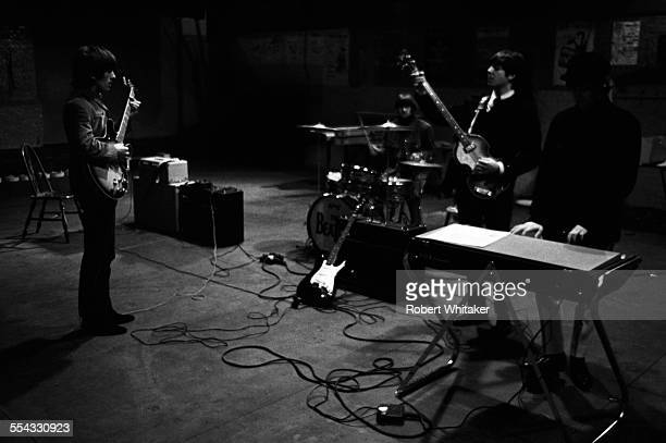 The Beatles are pictured at the Donmar Rehearsal Theatre in central London during rehearsals for their upcoming UK tour November 1965