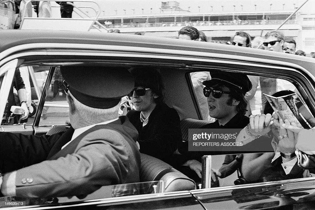 The Beatles arriving at Nice airport on June 30, 1965 in Nice, France.