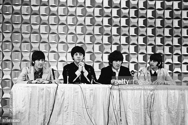 The Beatles at a press conference at Tokyo Hilton Hotel Japan June 29 1966 LR John Lennon Paul McCartney George Harrison Ringo Starr