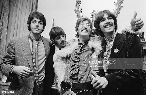 The Beatles at the press launch for their new album 'Sergeant Pepper's Lonely Hearts Club Band' held at Brian Epstein's house at 24 Chapel Street...