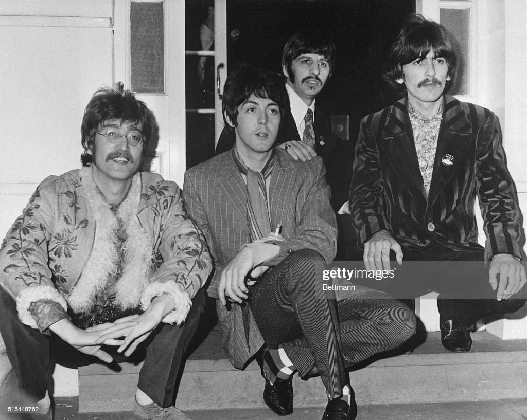 The Beatles at their manager Brian Epstein's home, 24 Chapel Street, London, for a press meeting and pre-listen to their upcoming album Sgt. Pepper's Lonely Hearts Club Band.