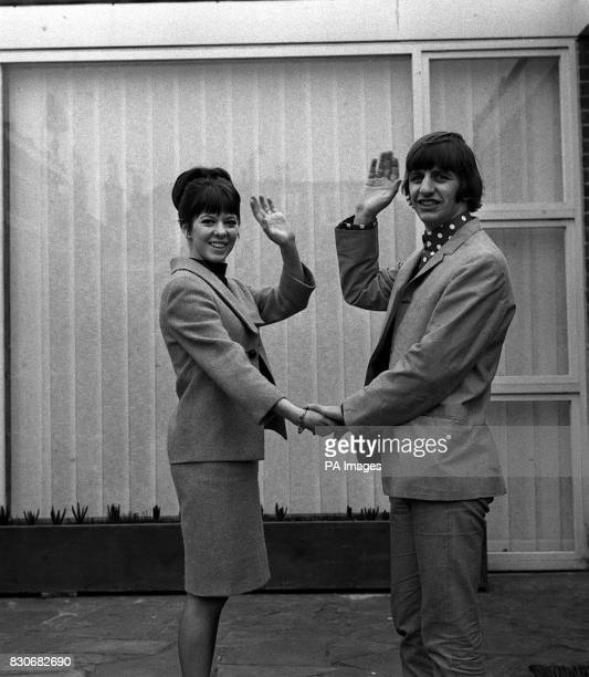 The Beatles drummer Ringo Starr and his bride the former Maureen Cox wave a greeting in the garden of their honeymoon retreat at Hove Sussex Maureen...