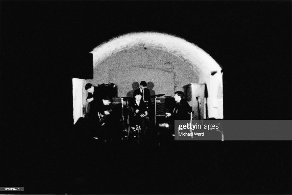 The Beatles during a rehearsal at the Cavern Club, Liverpool, 1st February 1963. From second left: George Harrison (1943 - 2001), Paul McCartney, Ringo Starr and John Lennon (1940 - 1980).
