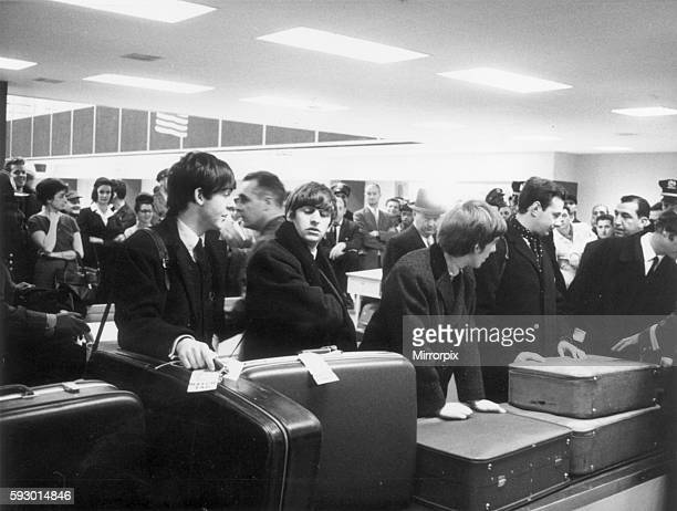 The Beatles in America 7th February 1964 Arrival at the US for a 10day tour at the Kennedy Airport New York Pictured going through customs Evaluation...