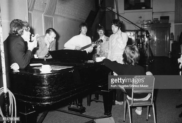 The Beatles in the studio during the recording session for the song 'The Fool On The Hill' at Studio 2 EMI Studios Abbey Road London September 25...