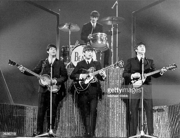 The Beatles on stage at the London Palladium during a performance in front of 2 000 screaming fans