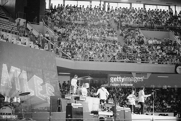 The Beatles on stage at the Nippon Budokan in Tokyo during their Asian tour July 1966