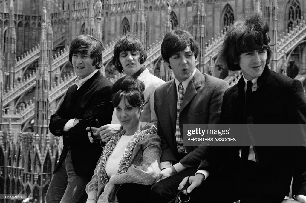 The Beatles on the rooftop of their hotel facing the Duomo on June 24, 1965 in Milan, Italy.