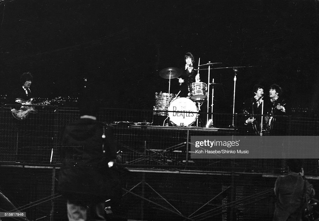 The Beatles perform during the last concert on their final tour at Candlestick Park San Francisco California August 29 1966 LR George Harrison Ringo...