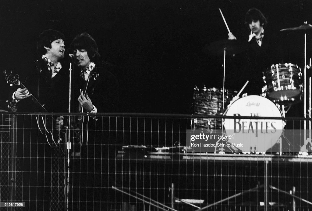 The Beatles perform during the last concert on their final tour at Candlestick Park San Francisco California August 29 1966 LR Paul McCartney George...