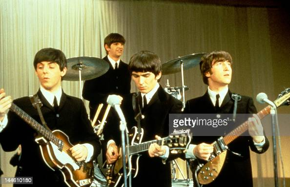 The Beatles performing on stage circa 1963 Left to right Paul McCartney Ringo Starr George Harrison and John Lennon