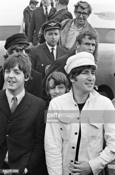 The Beatles return to England from Spain London Heathrow Airport Sunday 4th July 1965 Mal Evans is top right Picture taken 4th July 1965