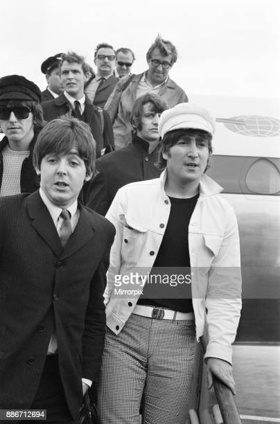 The Beatles return to England from Spain London Heathrow Airport Sunday 4th July 1965 Mal Evans is directly behind Ringo Starr to the right on the...